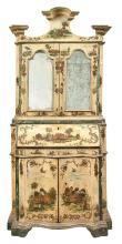 Italian Painted and Lacca Povera Bureau Bookcase