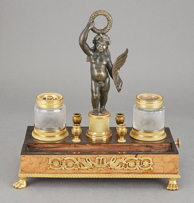 Empire Gilt and Patinated-Bronze Mounted Cut Glass and Amboyna Inkwell