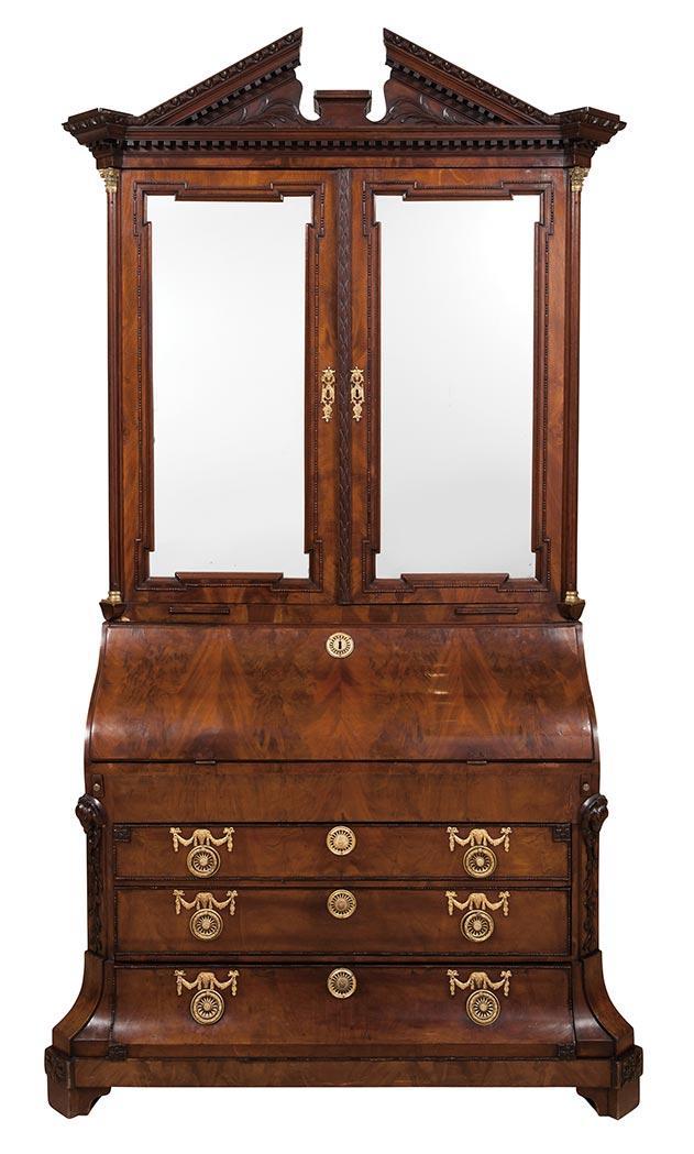 Dutch Neoclassical Gilt-Metal Mounted Mahogany Bureau Bookcase Cabinet