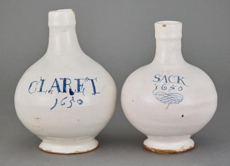 English Delft Claret Jug; Together with a Dutch Delft Sack Jug