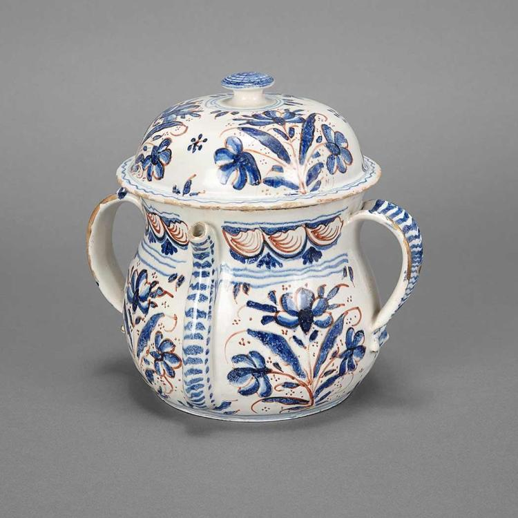 English Delftware Posset Pot and Cover