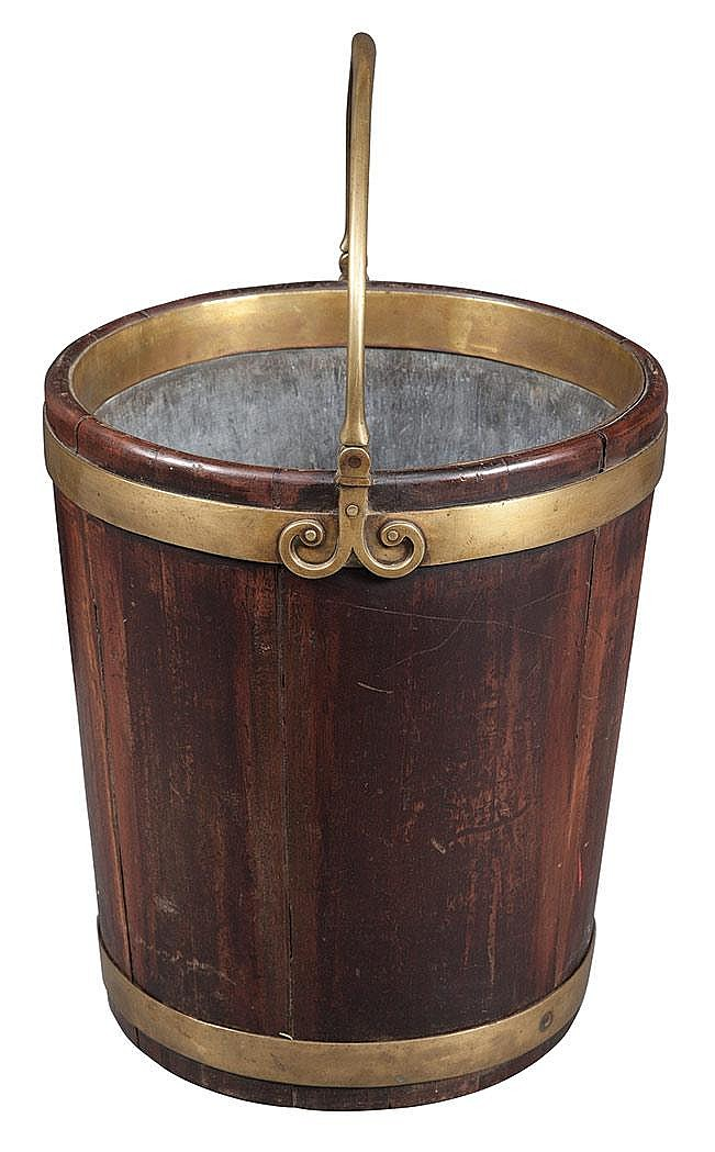 George IV Brass Bound Mahogany Peat Bucket