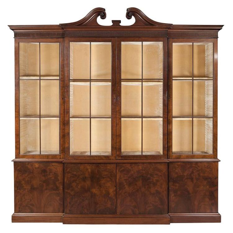 George III Mahogany Breakfront Bookcase Cabinet