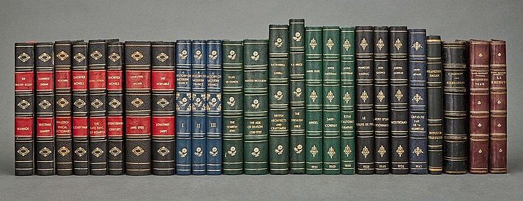 [BINDINGS] Group of approximately one hundred twenty-five volumes, bound in full or half modern or synthetic leather, being...