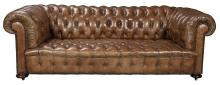 Leather Upholstered Tufted Chesterfield Sofa