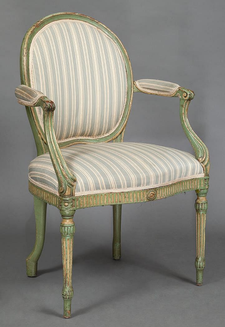George III Painted Open Armchair