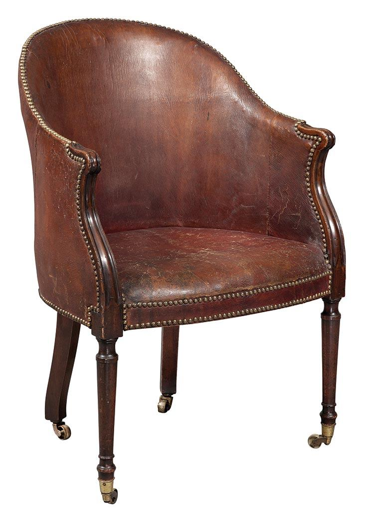 George III Leather Upholstered Mahogany Bergere