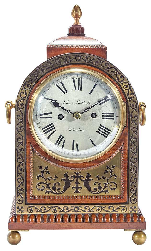 George IV Brass Inlaid Mahogany and Part Ebonized Bracket Clock