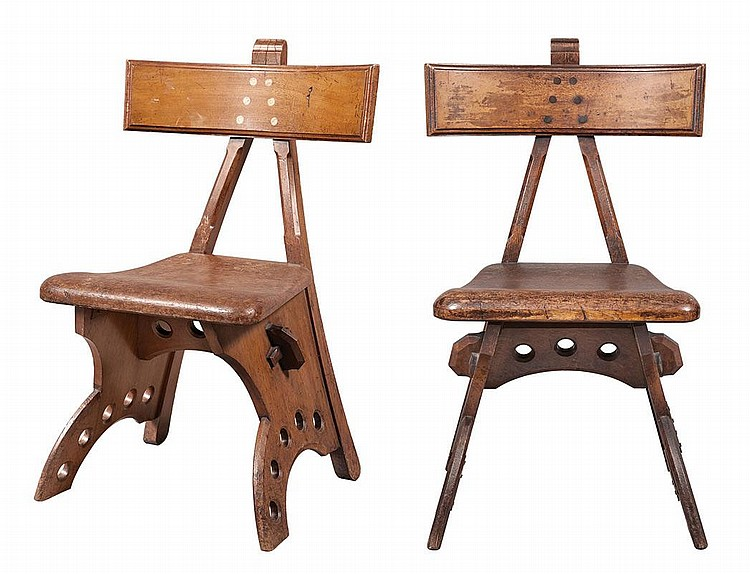 Assembled Pair of Walnut or Oak ''Granville'' Chairs