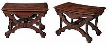 Pair of Victorian Walnut and Parquetry Hall Benches