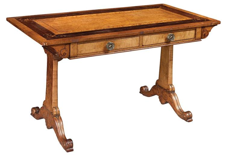 George IV Inlaid Maple and Rosewood Writing Table