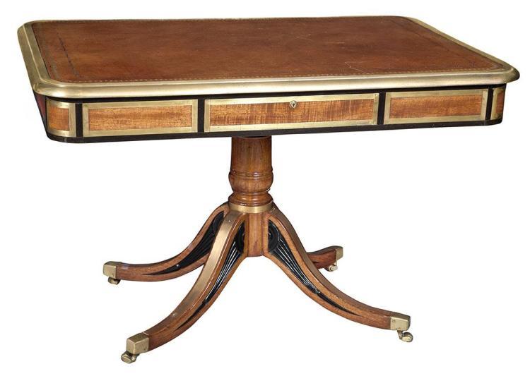 George IV Brass Mounted Hardwood and Ebony Writing Table