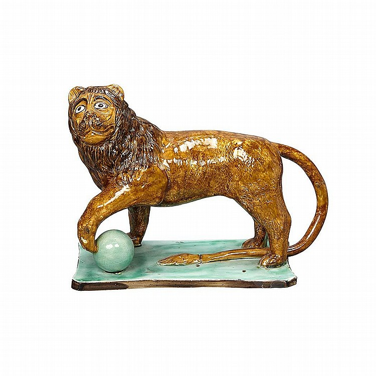 English Pearlware Figure of a Lion