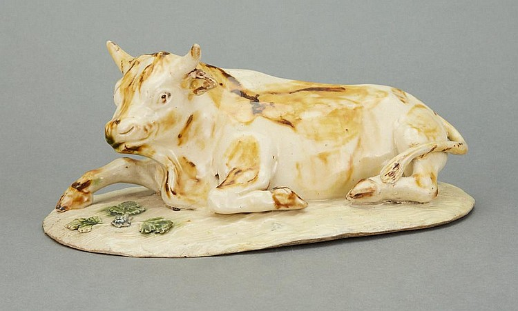 English Pottery Figure of a Recumbent Cow