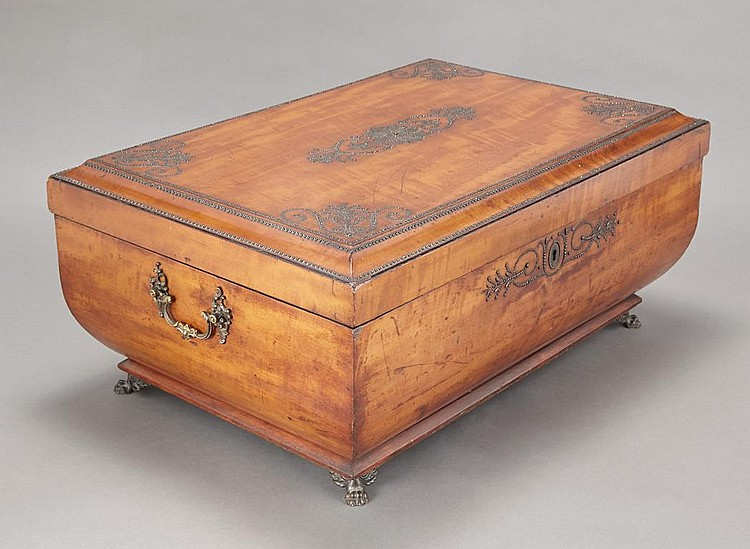 Continental Bright Cut Steel Mounted Fruitwood Casket