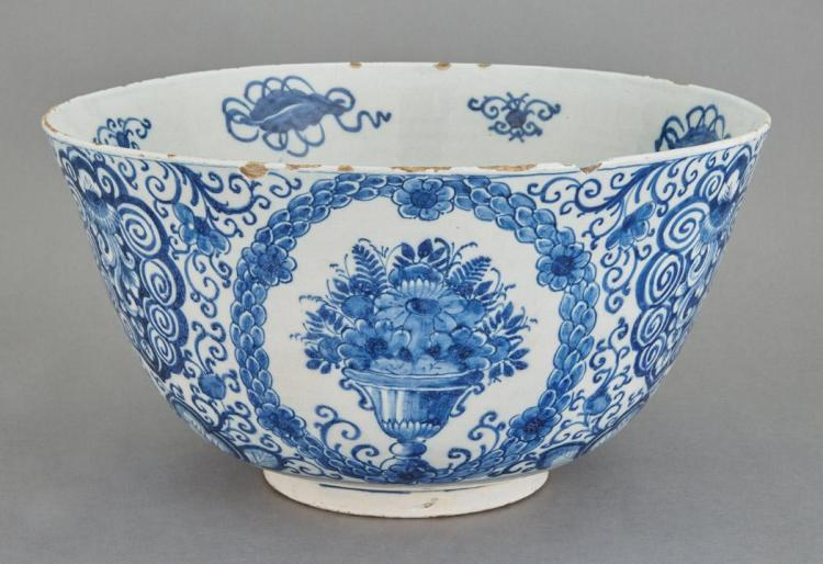 Dutch Delft Blue and White Punch Bowl