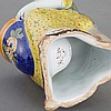 Dutch Delft Polychrome Decorated Faience Garniture; T/W a Dutch Delft Polychrome Decorated Mustard Pot