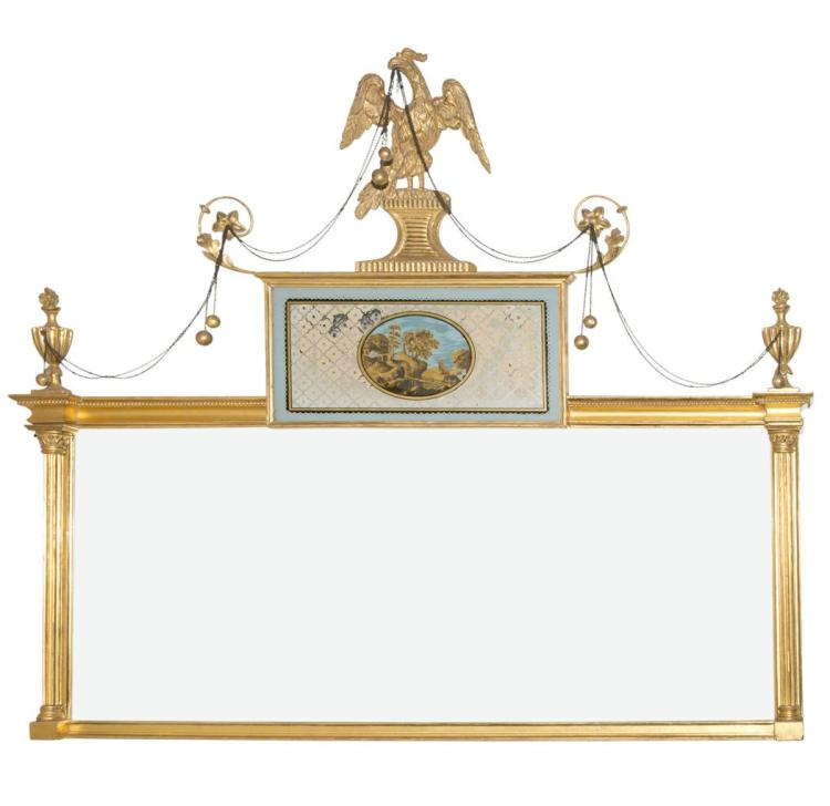 George III Giltwood and Verre Eglomise Overmantel Mirror