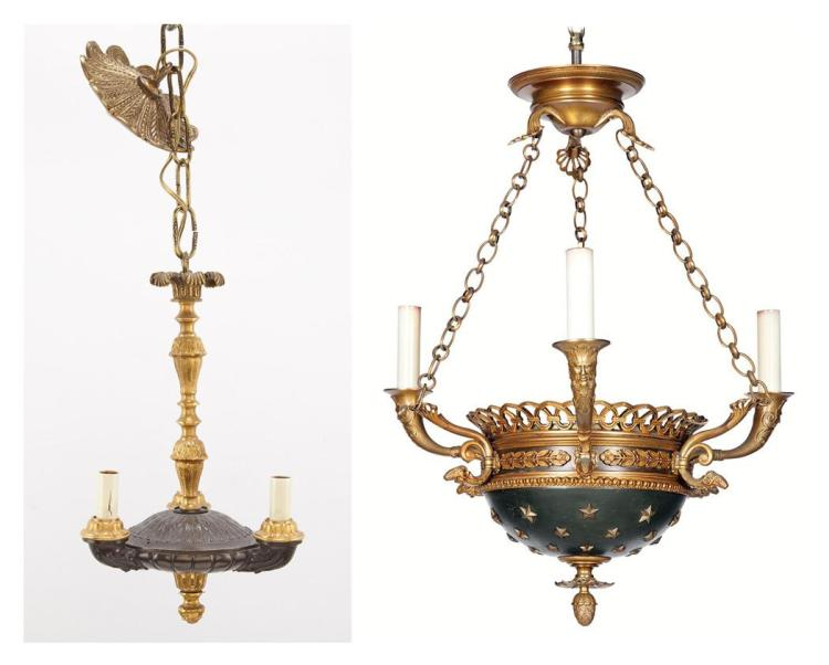 Empire Style Painted and Gilt-Metal Mounted Three-Light Chandelier; T/W an Empire Style Gilt & Patinated-Bronze Three-Light Chandelier