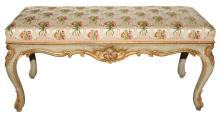 Venetian Rococo Painted and Parcel Gilt Bench