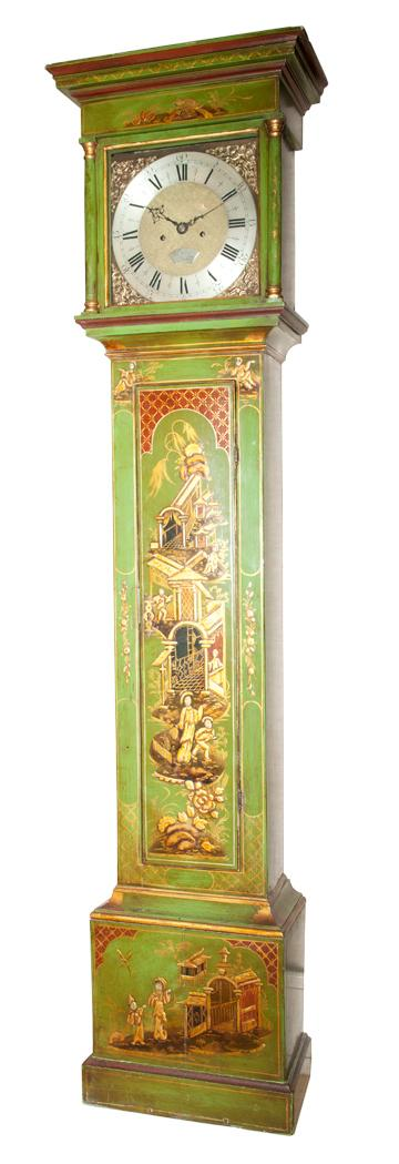 George II Green Japanned and Partial Gilt Longcase Clock