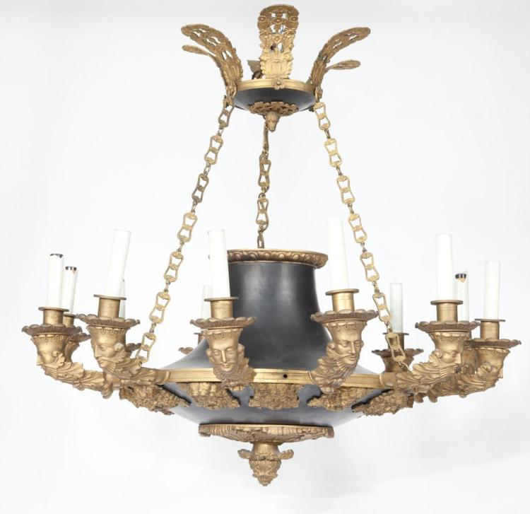 Empire Style Gilt and Patinated-Bronze Twelve-Light Chandelier