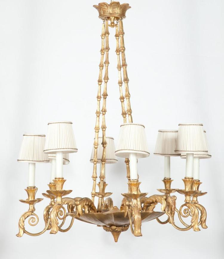 Continental Giltwood Eight-Light Chandelier