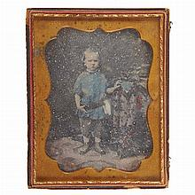 [EARLY PHOTOGRAPHY] Group of four images. Comprising a cased half-plate daguerreotype with hand coloring depicting a standin...