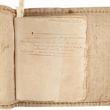 [SHIP LOG] Log book of the Ship Factor for 1806-1807. Original oversize lettered hessian, the upper cover with the notation...