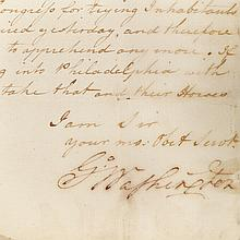 WASHINGTON, GEORGE Signed letter to Brigadier General John Lacey, Jr. Headquarters, Valley Forge: 11 April 1778. 1 page manu...