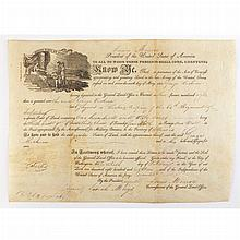 MONROE, JAMES Twice signed document. Washington: 20 February 1818. Partially printed vellum document accomplished in manuscr...