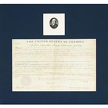ADAMS, JOHN QUINCY Document signed. Washington: 7 April 1825. Partially printed vellum document accomplished in manuscript g...