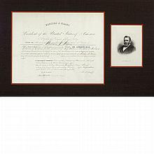 GRANT, ULYSSES S. Document Signed. Washington: 21 March 1870. Vellum document appointing Wickham Havens collector of customs...