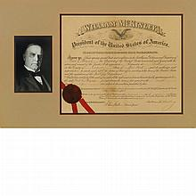 McKINLEY, WILLIAM Document signed. Washington: 29 April 1898. Partially printed document accomplished in manuscript appointi...