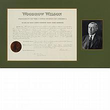 WILSON, WOODROW Document signed. Washington: 15 March 1915. Partially printed document accomplished in manuscript appointing...