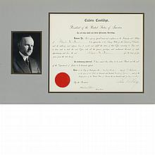 COOLIDGE, CALVIN Document signed. Washington: 23 October 1924. Partially printed document on vellum accomplished in manuscri...