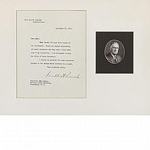 ROOSEVELT, FRANKLIN DELANO Typed letter signed. Washington: 25 September 1935. Typed letter on White House stationery addres...
