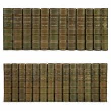 [FINE BINDINGS] THACKERAY, WILLIAM MAKEPEACE. Works. London: Smith, Elder, 1883. Twenty-six volumes. Contemporary half green...