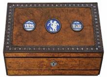George III Wedgwood Jasperware Plaque and Steel Mounted Amboyna and Ebony Writing Work Box   Possibly English or Continental...