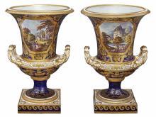 Pair of Derby Porcelain Urns