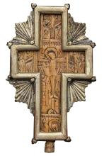 Continental Silvered Metal Mounted Carved Wood Pectoral Crucifix