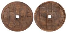 Two Iron Mounted Oak Cart Wheels
