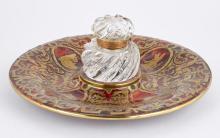 Victorian Gilt-Metal, Brass Tortoiseshell and Cut Glass Inkwell