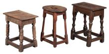 Group of Three English Oak Joined Stools