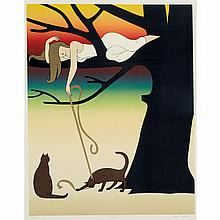 Will Barnet PLAY; CAT AND CANARY Color lithograph and a color lithograph and screenprint (2)