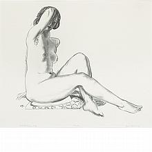 George Bellows NUDE STUDY, GIRL ON A FLOWERED CUSHION Lithograph