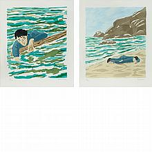 Richard Bosman ADRIFT; ASHORE Color stencils (2)
