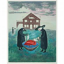 Leonora Carrington BIRD BATH Color lithograph
