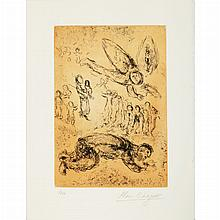 Marc Chagall UNTITLED Etching printed in orange and black