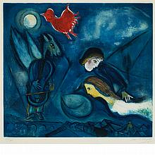 After Marc Chagall by Georges Visat ALEKO Color etching and aquatint
